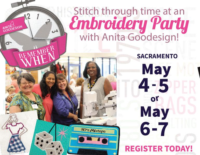 Anita Goodesign Sacramento Embroidery Party
