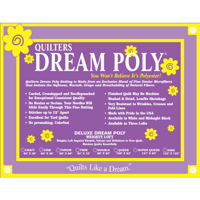 Batting Quilters Dream Poly Deluxe Queen Size Quilt Batt Quilting Crafting Sewing